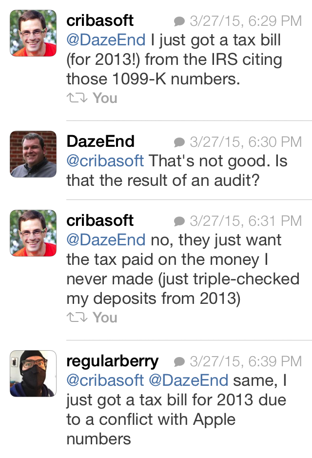 Conversation on Twitter with two developers who have received bills from the IRS for taxes due.